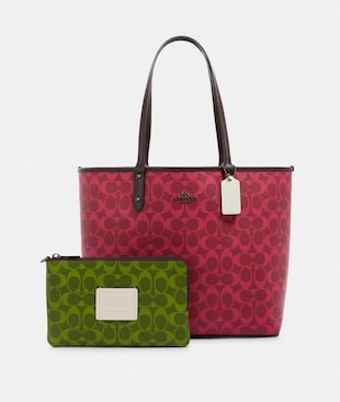 REVERSIBLE CITY TOTE IN BLOCKED SIGNATURE CANVAS