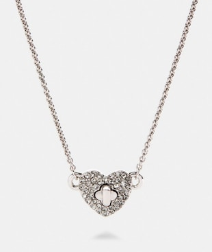 PAVE TURNLOCK HEART NECKLACE