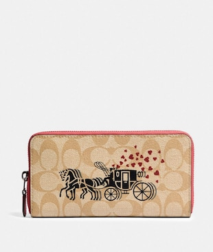 ACCORDION ZIP WALLET IN SIGNATURE CANVAS WITH HORSE AND CARRIAGE HEARTS MOTIF
