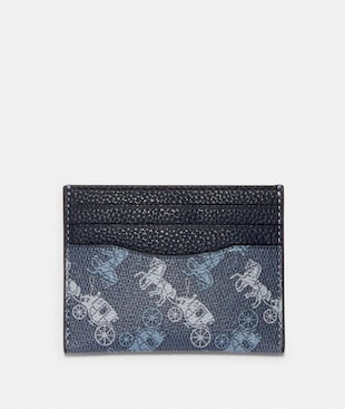 SLIM CARD CASE WITH HORSE AND CARRIAGE PRINT