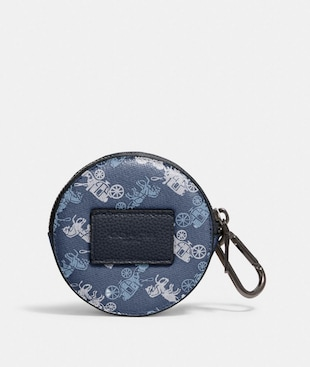 ROUND HYBRID POUCH WITH HORSE AND CARRIAGE PRINT