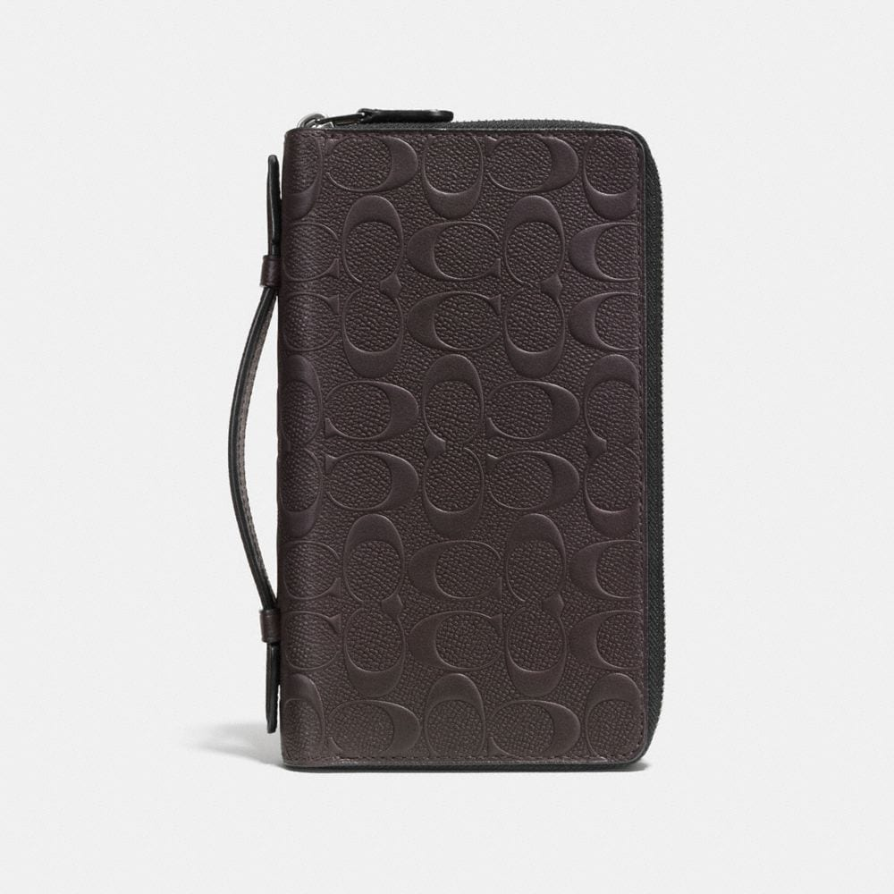 DOUBLE ZIP TRAVEL ORGANIZER IN SIGNATURE LEATHER