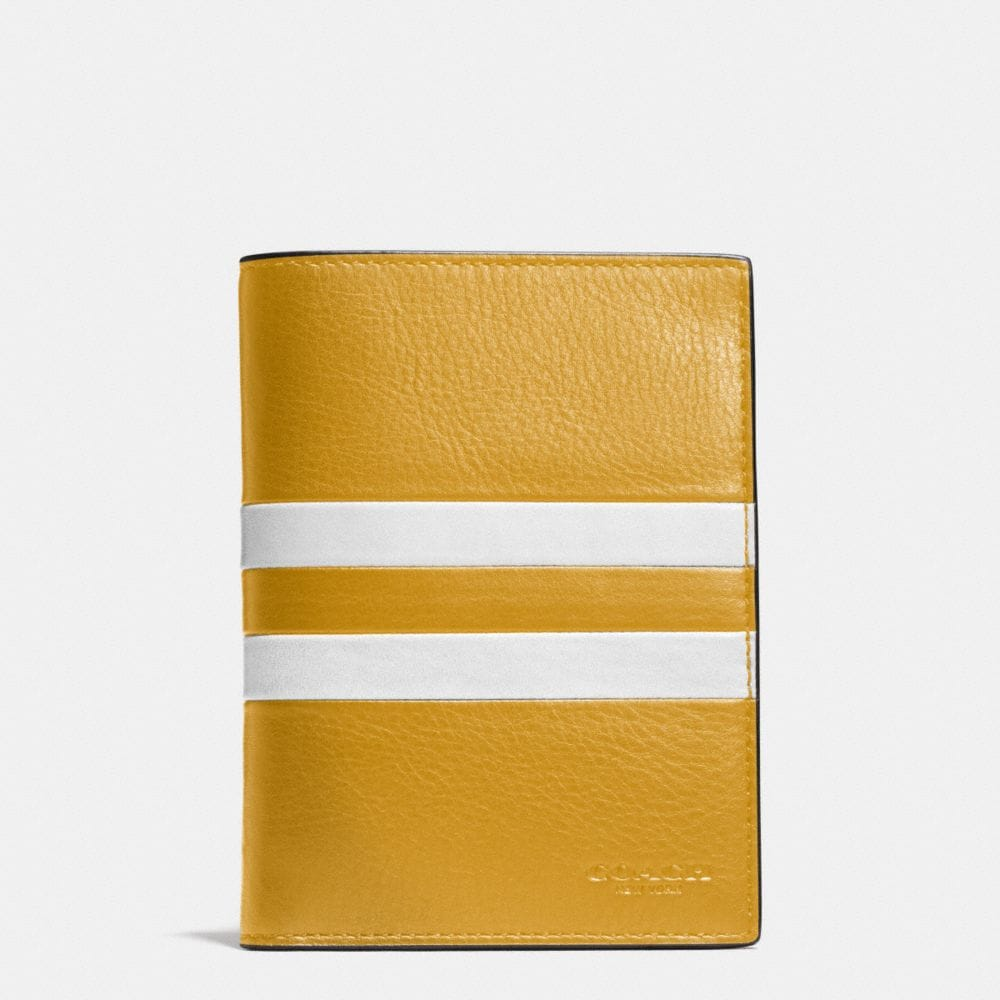 MODERN VARSITY STRIPE PASSPORT CASE IN SPORT CALF LEATHER