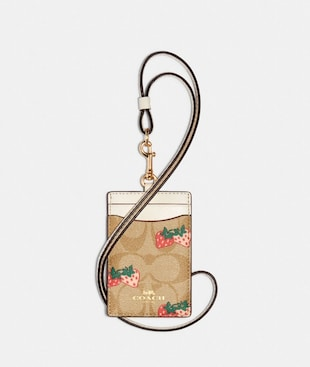ID LANYARD IN SIGNATURE CANVAS WITH STRAWBERRY PRINT