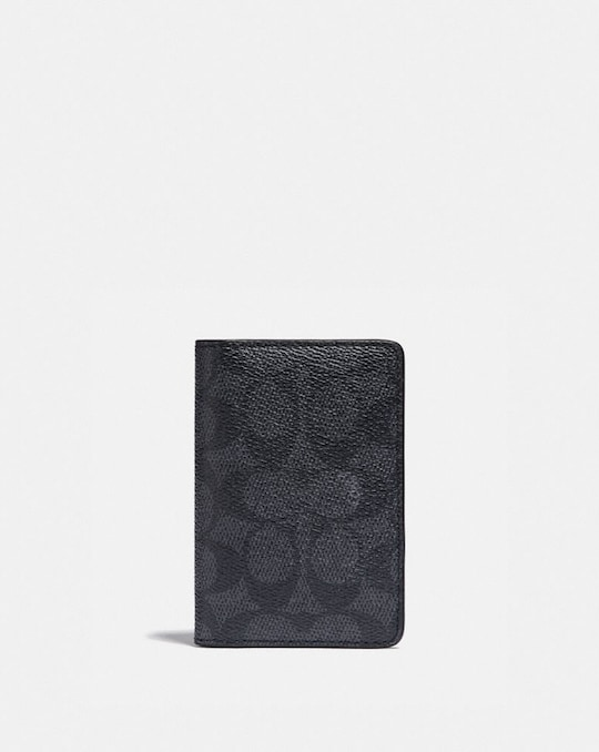 CARD WALLET IN SIGNATURE CANVAS WITH COLORBLOCK INTERIOR