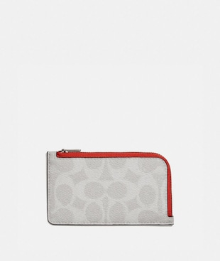 L-ZIP CARD CASE IN COLORBLOCK SIGNATURE CANVAS