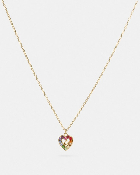 RAINBOW PAVE SCULPTED SIGNATURE HEART SLIDER NECKLACE