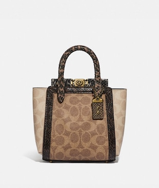 TROUPE TOTE 16 IN SIGNATURE CANVAS WITH SNAKESKIN DETAIL