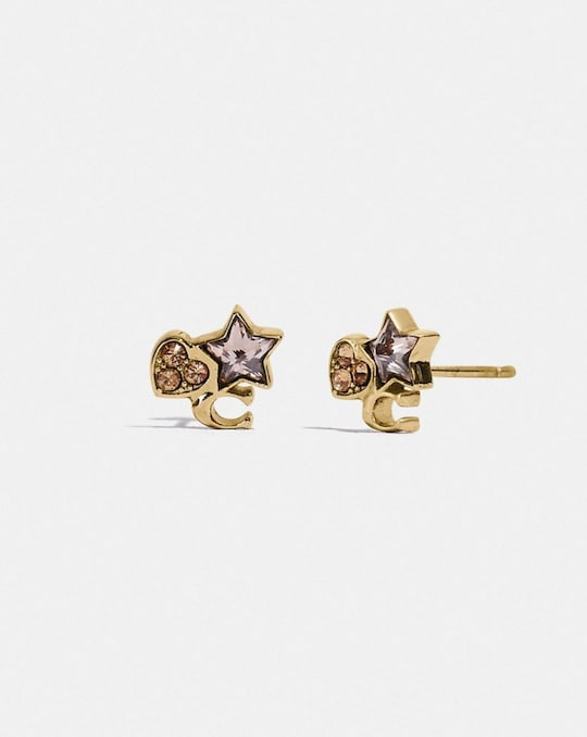 BOXED CRYSTAL STAR HEART SIGNATURE CLUSTER STUD EARRINGS