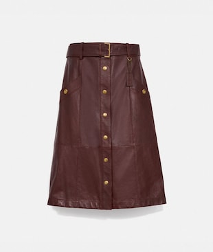 SNAP FRONT LEATHER SKIRT
