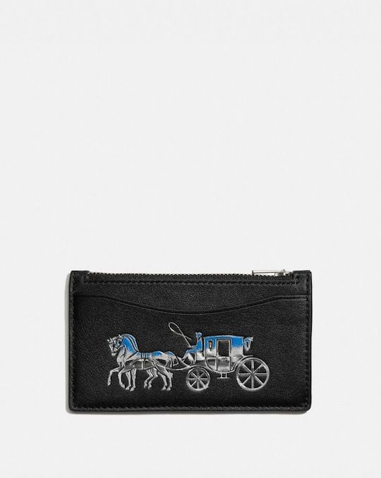 ZIP CARD CASE WITH HORSE AND CARRIAGE