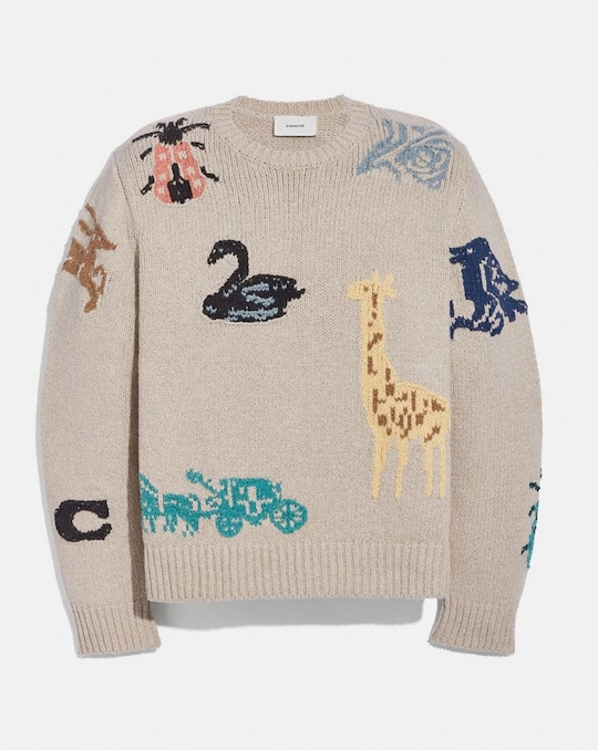ANIMAL GROUP INTARSIA SWEATER
