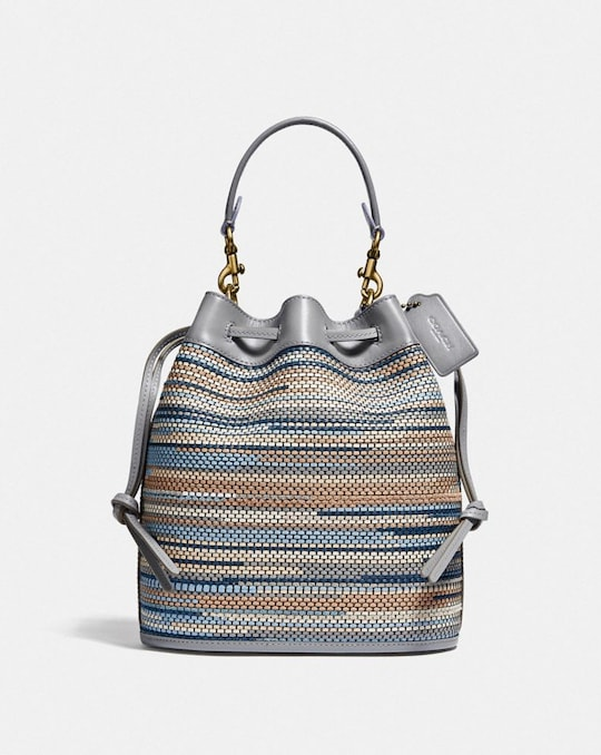 FIELD BUCKET BAG IN UPWOVEN LEATHER