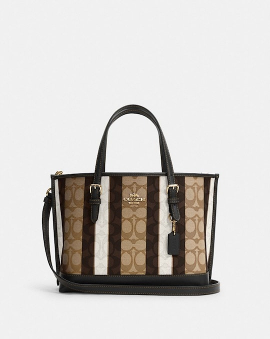 MOLLIE TOTE 25 IN SIGNATURE JACQUARD WITH STRIPES