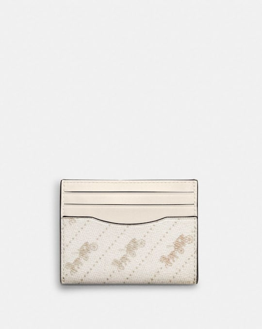 SLIM ID CARD CASE WITH HORSE AND CARRIAGE DOT PRINT