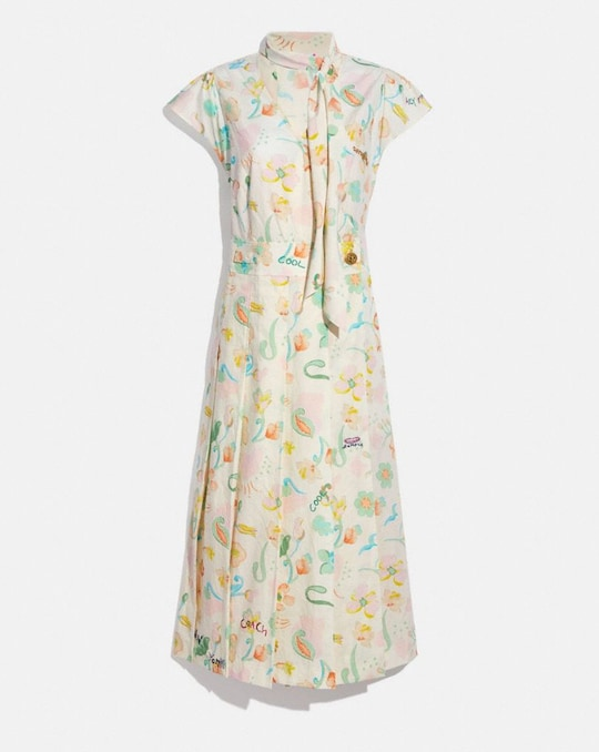 PRINTED TIE NECK PLEATED DRESS