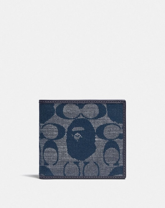 BAPE X COACH COIN WALLET IN SIGNATURE CHAMBRAY
