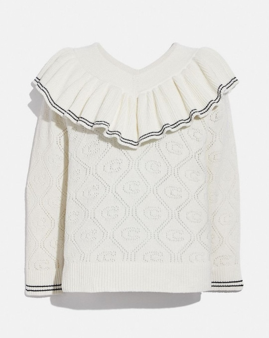 RUFFLED COLLAR SWEATER