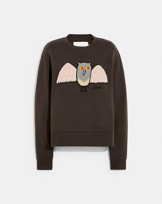 OWL SWEATSHIRT IN ORGANIC COTTON AND RECYCLED POLYESTER