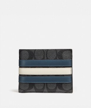 3-IN-1 WALLET IN SIGNATURE CANVAS WITH VARSITY STRIPE