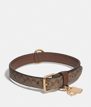 LARGE PET COLLAR IN SIGNATURE CROSSGRAIN LEATHER