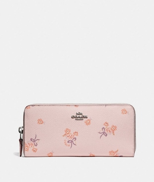 SLIM ACCORDION ZIP WALLET WITH FLORAL BOW PRINT