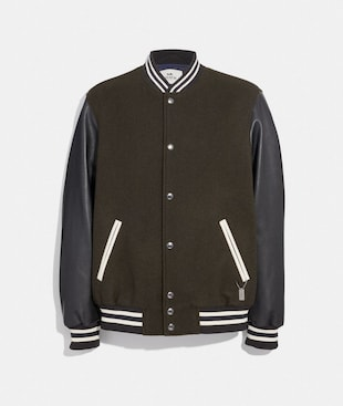 LEATHER AND WOOL VARSITY JACKET