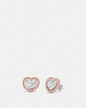 PEARL HEART HALO STUD EARRINGS