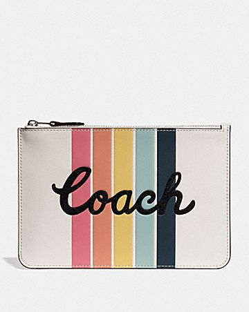 POUCH WITH RAINBOW COACH PRINT