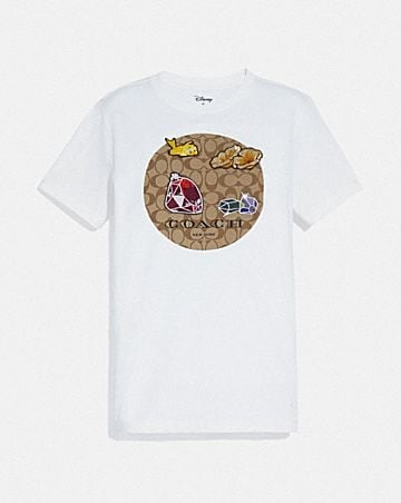 DISNEY X COACH SIGNATURE PRINT T-SHIRT WITH SNOW WHITE AND THE SEVEN DWARFS MOTIF