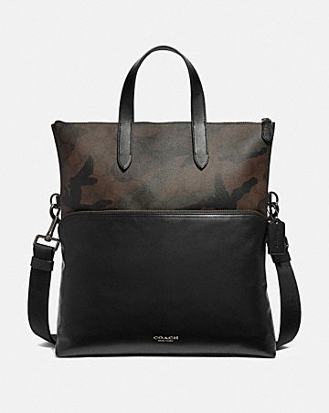 GRAHAM FOLDOVER TOTE IN SIGNATURE CANVAS WITH CAMO PRINT