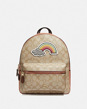 MEDIUM CHARLIE BACKPACK IN SIGNATURE CANVAS WITH RAINBOW MOTIF