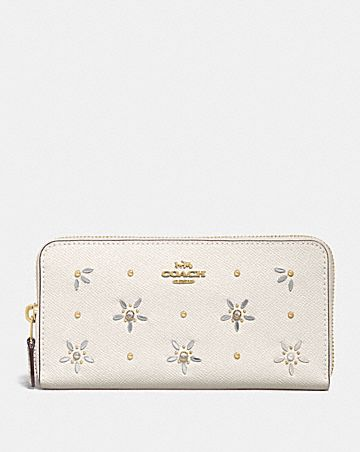 ACCORDION ZIP WALLET WITH ALLOVER STUDS