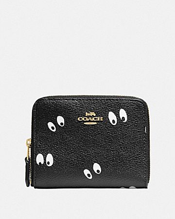 DISNEY X COACH SMALL ZIP AROUND WALLET WITH SNOW WHITE AND THE SEVEN DWARFS EYES PRINT