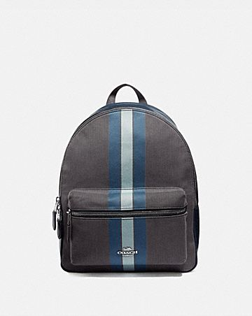 MEDIUM CHARLIE BACKPACK IN SIGNATURE JACQUARD WITH VARSITY STRIPE