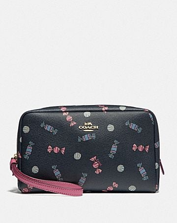 BOXY COSMETIC CASE WITH SCATTERED CANDY PRINT
