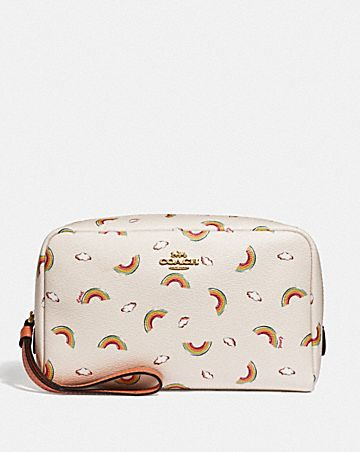 BOXY COSMETIC CASE WITH ALLOVER RAINBOW PRINT