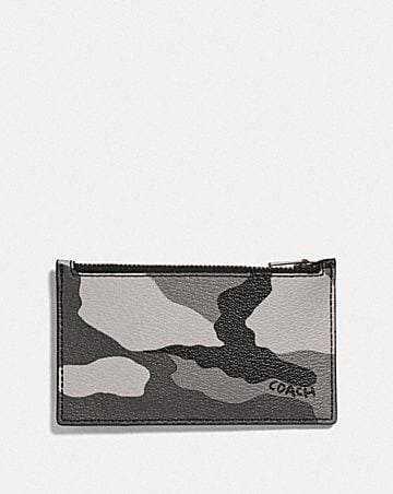 ZIP CARD CASE WITH CAMO PRINT