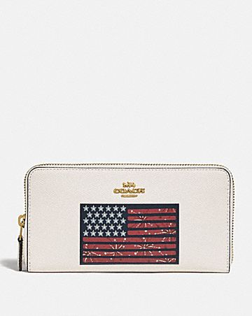 ACCORDION ZIP WALLET WITH AMERICANA FLAG MOTIF