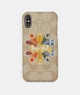 IPHONE X CASE IN SIGNATURE CANVAS WITH COACH RADIAL RAINBOW
