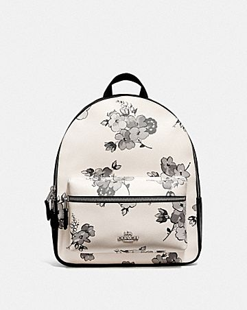 MEDIUM CHARLIE BACKPACK WITH FAIRY TALE FLORAL PRINT