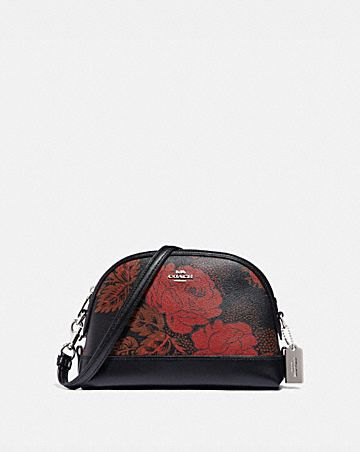 DOME CROSSBODY WITH THORN ROSES PRINT
