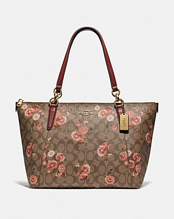 AVA TOTE IN SIGNATURE CANVAS WITH PRAIRIE DAISY CLUSTER PRINT