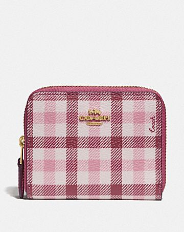 SMALL DOUBLE ZIP AROUND WALLET IN SIGNATURE CANVAS AND GINGHAM PRINT