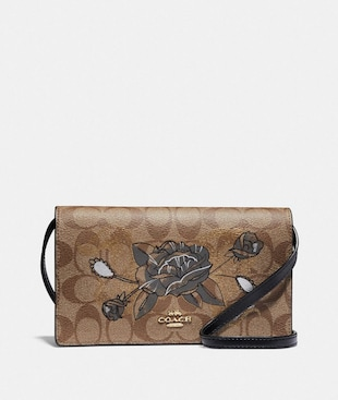 HAYDEN FOLDOVER CROSSBODY CLUTCH IN SIGNATURE CANVAS WITH CHELSEA ANIMATION