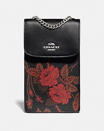 NORTH/SOUTH PHONE CROSSBODY WITH THORN ROSES PRINT