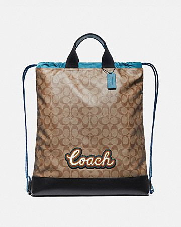 TERRAIN DRAWSTRING BACKPACK IN SIGNATURE CANVAS WITH COACH SCRIPT