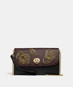 CHAIN CROSSBODY IN SIGNATURE CANVAS WITH TULIP PRINT EMBROIDERY