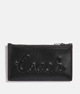 ZIP CARD CASE WITH COACH SCRIPT