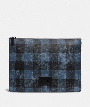 LARGE POUCH WITH GRUNGE BUFFALO PLAID PRINT